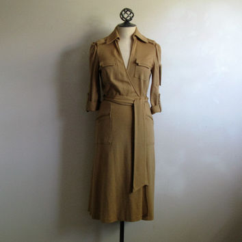 Vintage Diane Von Furstenberg Dress 1980s Tan Wool Jersey Classic Wrap Safari 10 Made in USA