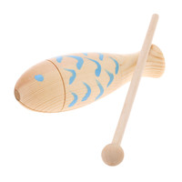 Wooden Fished Shaped Percussion with Mallet