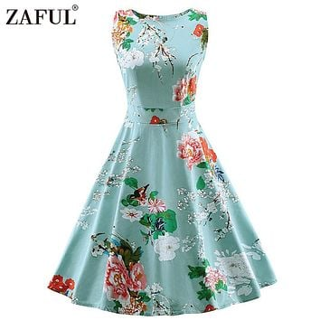 ZAFUL Vintage Women Dress feminino Robe Rockabilly clothing Audrey hepburn 50s retro Print blue Party Dresses plus size Vestidos