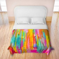 Duvet Cover Brushed Twill Twin, Queen, King SETs from DiaNoche Designs by Jackie Phillips Unique Home Decor and Designer Bedding Ideas - Neon Double Abstract
