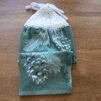 White Pinecone Hanging Dish Towel With Hand Knit Topper and Ties
