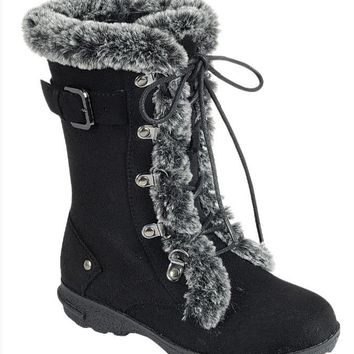 Girl's Black Boots with Laces and Faux Fur