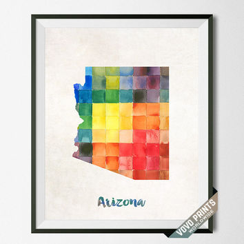 Arizona Art, Print, Map, Artwork, Wall Art, Poster, Painting, Kitchen Art, Bedroom, Bathroom Art, USA, United States, Room, Vovo [NO 4]