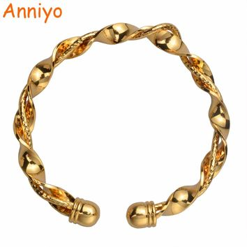 Anniyo Twisted Metal Cuff Bangle & Bracletes for Womens Gold Color Trendy Jewelry Pulseiras Gifts #091106