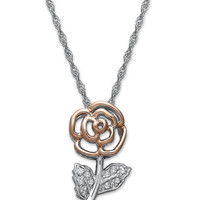 Diamond Flower Pendant Necklace in Sterling Silver and 14k Rose Gold (1/10 ct. t.w.)