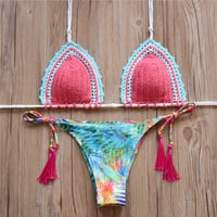Pink Tassel Bandage Bikini Set Women Swimwear Swimsuit Bathing Suit