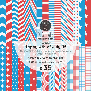 ROYALTY FREE Commercial Use - Basic Geo Digital Patterned Paper: Independence Day - 12x12in, 300dpi - scrapbooking paper, instant download
