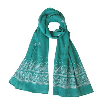 Embroidered Self Check Long Scarf: Fall for EMERALD