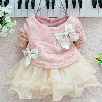 2016 NEW Arrive Baby Girls Long Sleeve Knitted With Bow Infants Newborn Pink Tutu Princess Dress