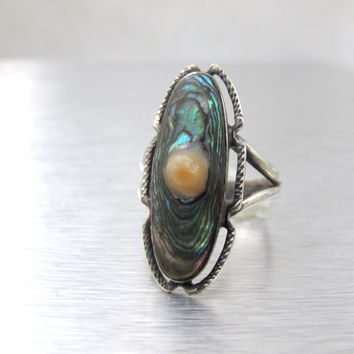 Sterling Blister Pearl Ring, Art Deco Ring, 1930's Jewelry Jewellery, Mother Of Pearl Paua Shell Jewelry,
