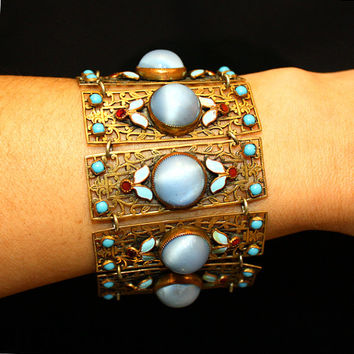 Max Neiger Antique Art Deco Czech Glass Panel Bracelet Brass Filigree Enamel Vintage Art Nouveau Jewelry isj 2