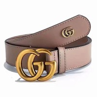 GUCCI Woman Men Fashion Smooth Buckle Belt Leather Belt { 6 colors }-4