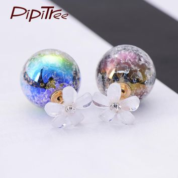 Korean Fashion Hot Sale Flower Earrings For Women Summer Jewelry Double Crack Ball Stud Earrings Pusety Brincos To Wedding Party