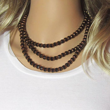 Long Black Necklace gold-finished glass - opaque black - cathedral beads Single - Double Wrap Triple Wrap
