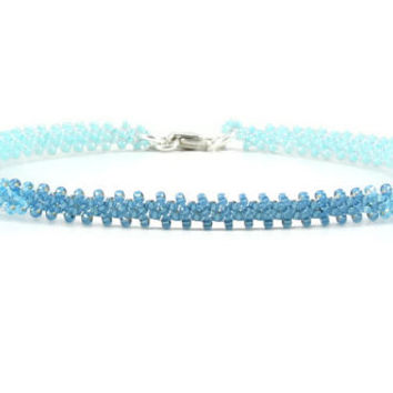 Beaded Anklet - Blue Ombre Anklet - Seed Bead Ankle Bracelet - Daisy Chain Jewelry - Beaded Jewelry - Summer Anklet