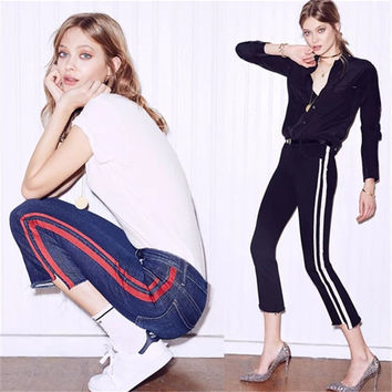 High Waist Summer Ladies Stripes Irregular Jeans [11405197519]