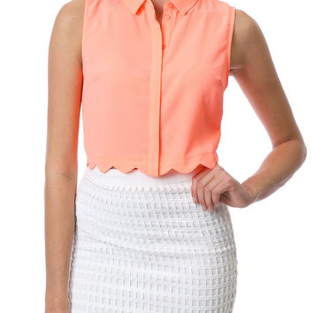 Keep It Real Crop Shirt - Coral