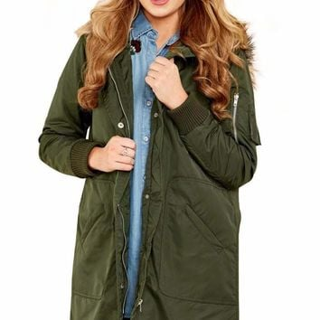 Army Green Fur Trim Hooded Longline Coat