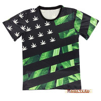 Marjuana Weed Cannabis Leaf Flag Print Hip Hop Urban Swag Sublimation All Over Print Shirt Tee Shirt Graphic Tee Gift Idea Free Shipping USA