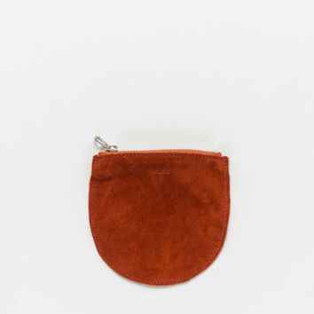 Small Leather Pocket Pouch Rust Suede
