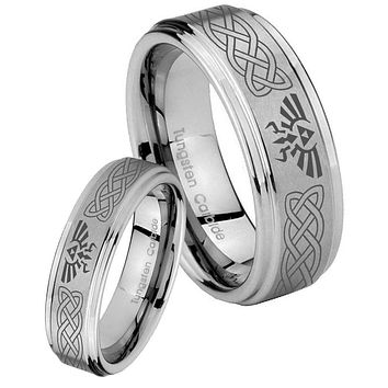 His and Hers Step Edge Celtic Zelda Tungsten Silver Wedding Rings Set