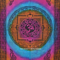 Small Tie Dye Hindu Aum Om Wall Tapestry, Indian Hippie Bedding Bedspread on RoyalFurnish.com