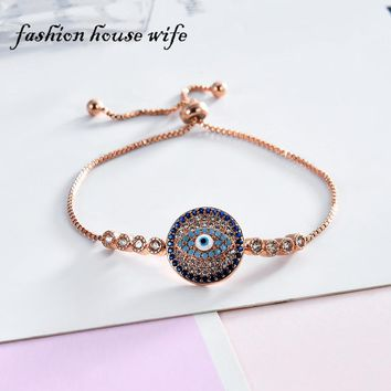 Fashion House Wife Turkish Blue Stone AAA Zircon Evil Eye Bracelet For Women Adjustable Copper Bracelets Femme Jewelry Gifts