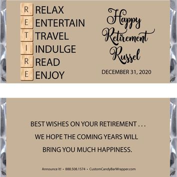 Scrabble Retirement Candy Bar Wrappers