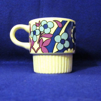 Vintage 70s CLASSIC FLOWER GRAPHIC Cute Stylish Retro Amazing Coffee Mug Cup