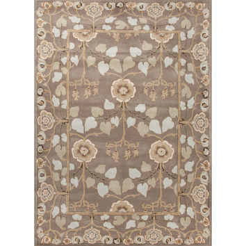 Jaipur Rugs Classic Arts And Crafts Pattern Gray/Blue Wool Area Rug PM74 (Rectangle)