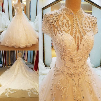LS67943 luxury wedding dress 2017 corset back beaded crystals short sleeves ball gown arab wedding dress ivory real photos