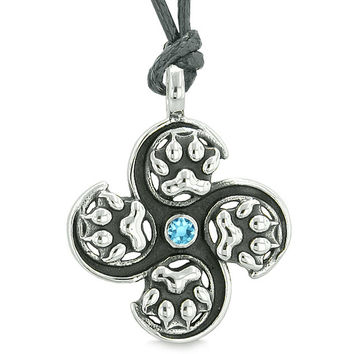 Supernatural Wild Wolf Paw All Forces of Nature Power Amulet Sky Blue Crystal Pendant Adjustable Necklace