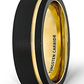 CERTIFIED 8mm 18k Gold Wedding Band Black Brushed Tungsten Ring Thin Side Groove Flat Edge Comfort Fit