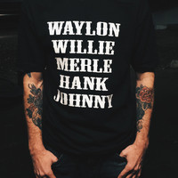 THE ORIGINAL Waylon Jennings Merle Haggard Willie Nelson Hank Williams Johnny Cash Country Legend (Hand Screen Printed) Tribute T-Shirt
