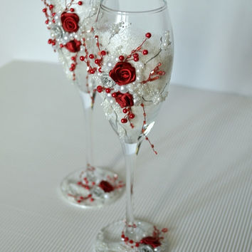 Elegant Wedding Champagne Flutes \ Toasting Champagne Glasses \ Personalized Wedding Flutes \ Wedding ceremony  Silver & Red Roses  Handmade
