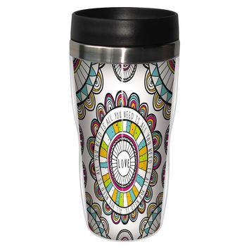 Love You Travel Mug - Premium 16 oz Stainless Lined w/ No Spill Lid