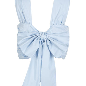 Light Blue Bowknot Front Ruched Cross Wrap Back Crop Top