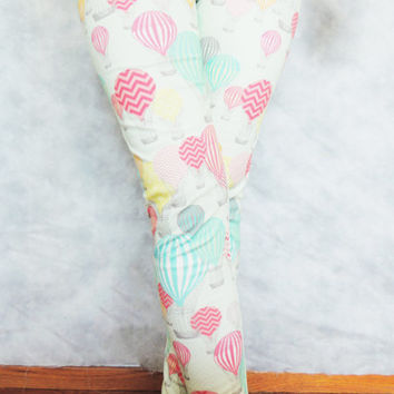 Hot Air Ballon Leggings - Organic Cotton, Spandex, Work Out, Colorful, Rainbow, Print, Pattern