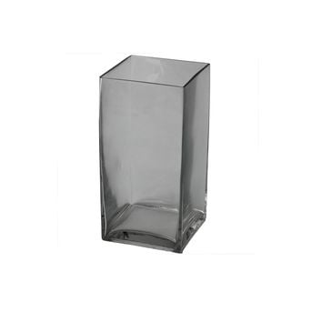Essentials Décor Entrada Collection Square Shaped Glass Vase, 11.8-Inch, Clear