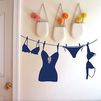 Wall Decals Lingerie Swimsuit Underwear Laundry Room Vinyl Sticker Decor O502