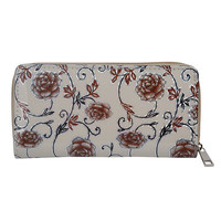 Women Retro Elegant Flower Pattern Zipper Long Wallets Card Holders