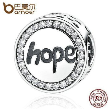 ESBONFI BAMOER Real 925 Sterling Silver 'Hope' Letter Alphabet Charm Charms Fit Bracelets & Necklaces For Women Fashion Jewelry SCC088