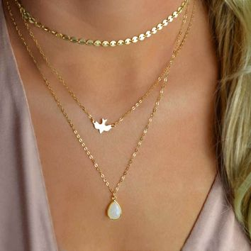 2017 New Peace Dove Soar Flying Layers Crystal Sequins Chain pigeon bird Water Drop Pendant Multilayer Necklace   171213