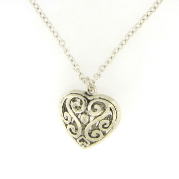Antiqued Heart Necklace