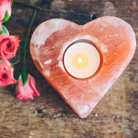 Heart Rock Salt Candle Holder
