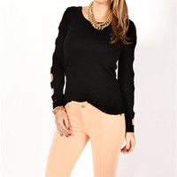 Black Long Sleeve Cut Out Top