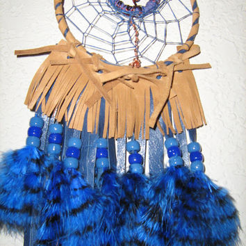 Lapis Lazuli Birthstone Dreamcatcher, Fringed Leather, Copper wrapped Lapis Tree of Life, Blue and Gold Leather Fringe, Stenciled
