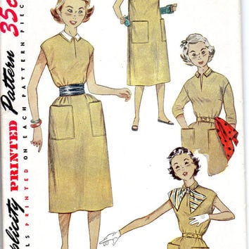 50s Sewing Pattern Simplicity 4365 One Piece Dress Pullover Cummerbund Waist Detachable Collar Retro School Girl Slit Neck Uncut FF Bust 30