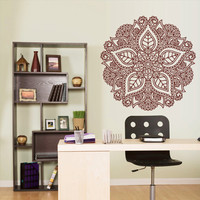 Wall Decal Vinyl  Mural Sticker Art Decor Bedroom Dorm Kitchen Ceiling Mandala Menhdi Flower Pattern Ornament Om Indian Hindu Buddha (z2962)