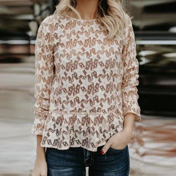 Spring Lace See Through Hollow Out Blouse Ladies Flare Sleeve o neck Shirts Solid Long Sleeve Sexy Tops